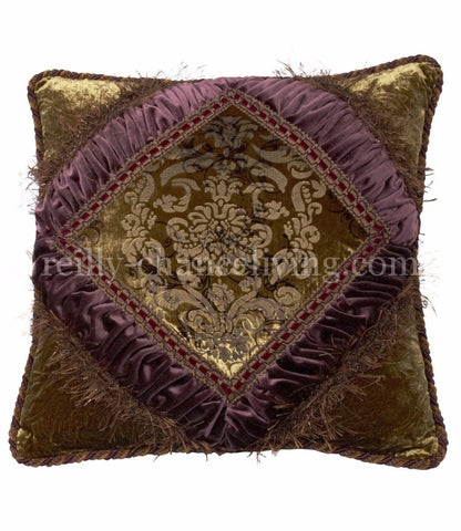 Accent Pillow Green And Purple Textured Velvet Corded Square 20x20