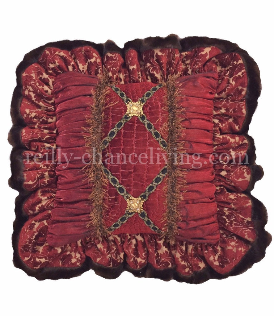 Luxury_decorative_pillow-square-red_damask-croc-faux_mink-embellished-bling-reilly_chance_collection