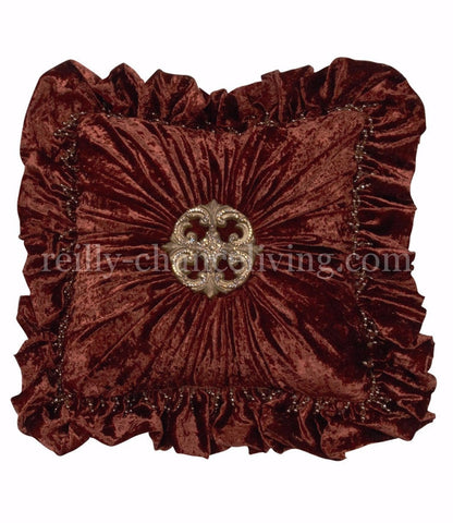 Brick Velvet And Large Medallion Square Ruffled Accent Pillow 20x20