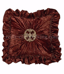 Luxury_decorative_pillow-square-ruffled-rust_velvet-swavorski_crystal_medallion-bling-beads-reilly_chance_collection