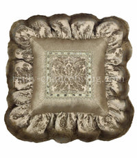 Decorative Throw Pillow Grey And Taupe Chenille Damask And Gecko Ruffled Square 18x18
