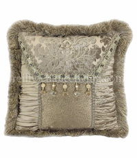 Decorative Throw Pillow Grey Taupe Chenille Damask Silk Beads Square 14x14
