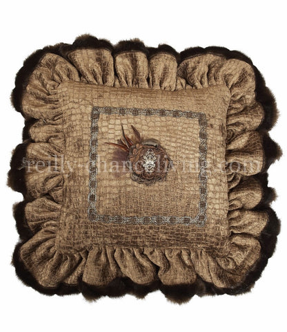 Decorative Accent Pillow Caramel Croc Chenille Ruffled Jeweled Flower 18x18