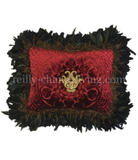 Luxury Accent Pillow with Feathers and Jeweled Medallion