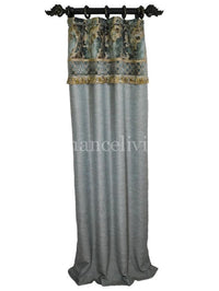Luxury Curtain Panel Blue and Taupe Style #7 with band