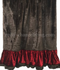 Luxury Brown faux mink and red velvet throw