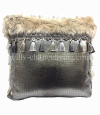 Accent Pillow Gray Faux Croc Tassel Fringe