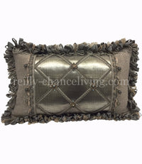 Decorative Pillow Gray Metallic Faux Leather Beads