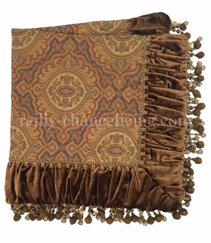 Luxury Table Square Bronze Velvet and Gold Medallion Print  with Beads