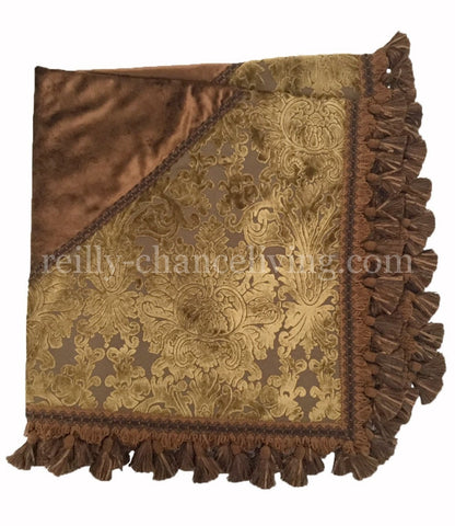 Luxury Table Square Gold and bronze velvet damask
