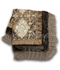 Designer Table Throw Chocolate, gold and silver damask