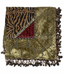 Luxury_square_table_topper-green_velvet-black_gold_tiger_chenille-red-beads-reilly_chance_collection_grande