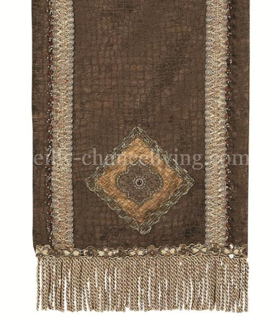 Luxury_table_runner-Chocolate_brown_croc-bullion-embellished-reilly_chance_collection