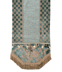 Designer Table Runner Blue and Taupe