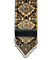 Designer Table Runner Gold and Dark Chocolate Damask 18
