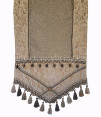 Gray Damask Metallic Linen Luxury Table Runner