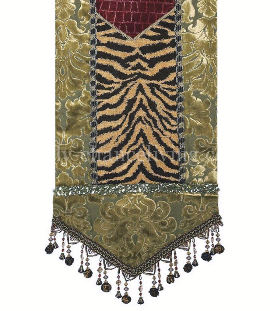Table_runner-green_velvet-tiger-jeweled-beads-reilly_chance_collection