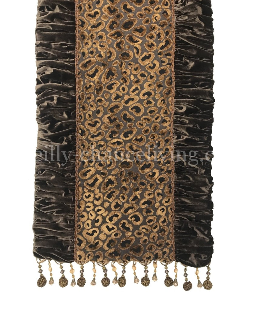 Old World Luxury Table Runner Leopard Velvet