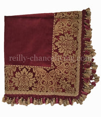 Red Damask Chenille Table Square with Tassel Fringe