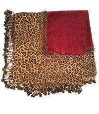 Red Chenille and Leopard Print Table Square with Beads