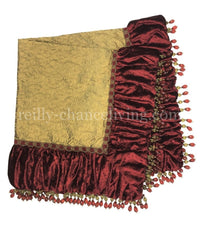 Luxury Square Table Topper Red and Gold  44x44