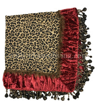 Designer Table Square Leopard Print and Red Velvet