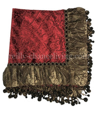 Designer Table Throw Red Velvet Embroidered Organza