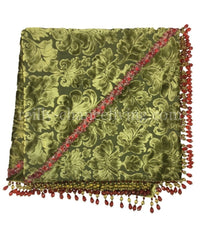 Christmas Table Topper Green Velvet with Beads  44x44