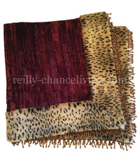 Luxury Table Square Burgundy and Leopard Majesty