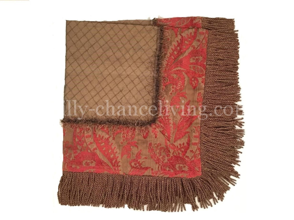 Luxury Square Table Topper Chocolate Brown Red Chenille