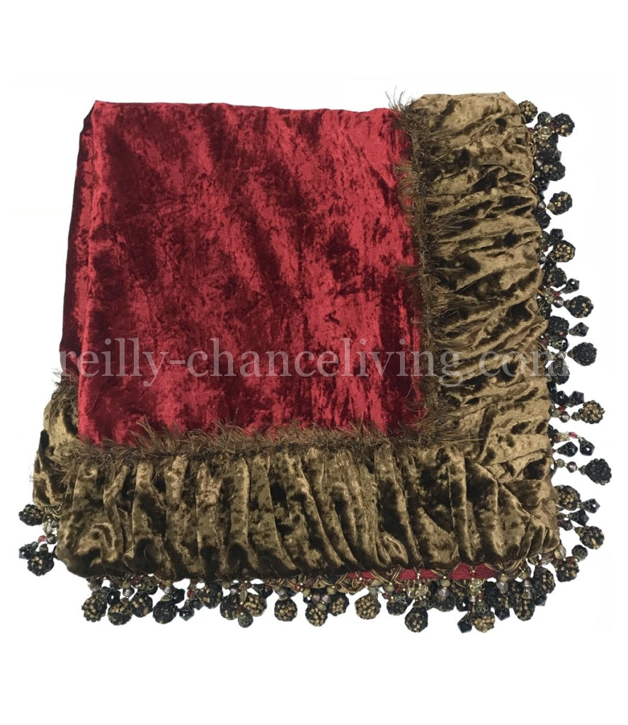 Luxury Square Table Topper Red And Bronze Velvet