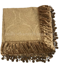 Luxury Square Table Topper Gold Damask with Velvet