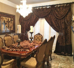 Swags And Jabots With Decorative Curtain Panels *available In Any Of Our Fabrics Window Treatment