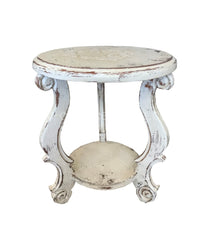 Peruvian Home Furnishings Madrid Hand Painted Wood Side Table Vintage White FREE SHIPPING