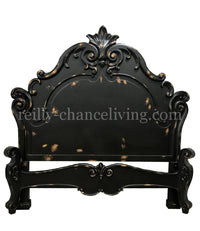 Marino Peruvian Hand Crafted Wood King Size Bed Vintage Black Gold FREE SHIPPING