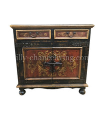 Peruvian Hand Painted Wood Chest Martinique in Vintage Black/ Red FREE SHIPPING
