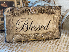 Michelle_Butler_Blessed_plaque--old_world_picture_frames-decorative_picture_frames-country_french_decor_picture_frames-reilly_chance