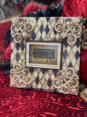 Michelle_Butler_originals_table_top_frames_with_harlequin_pattern-old_world_picture_frames-decorative_picture_frames-heirloom_picture_frames-reilly_chance