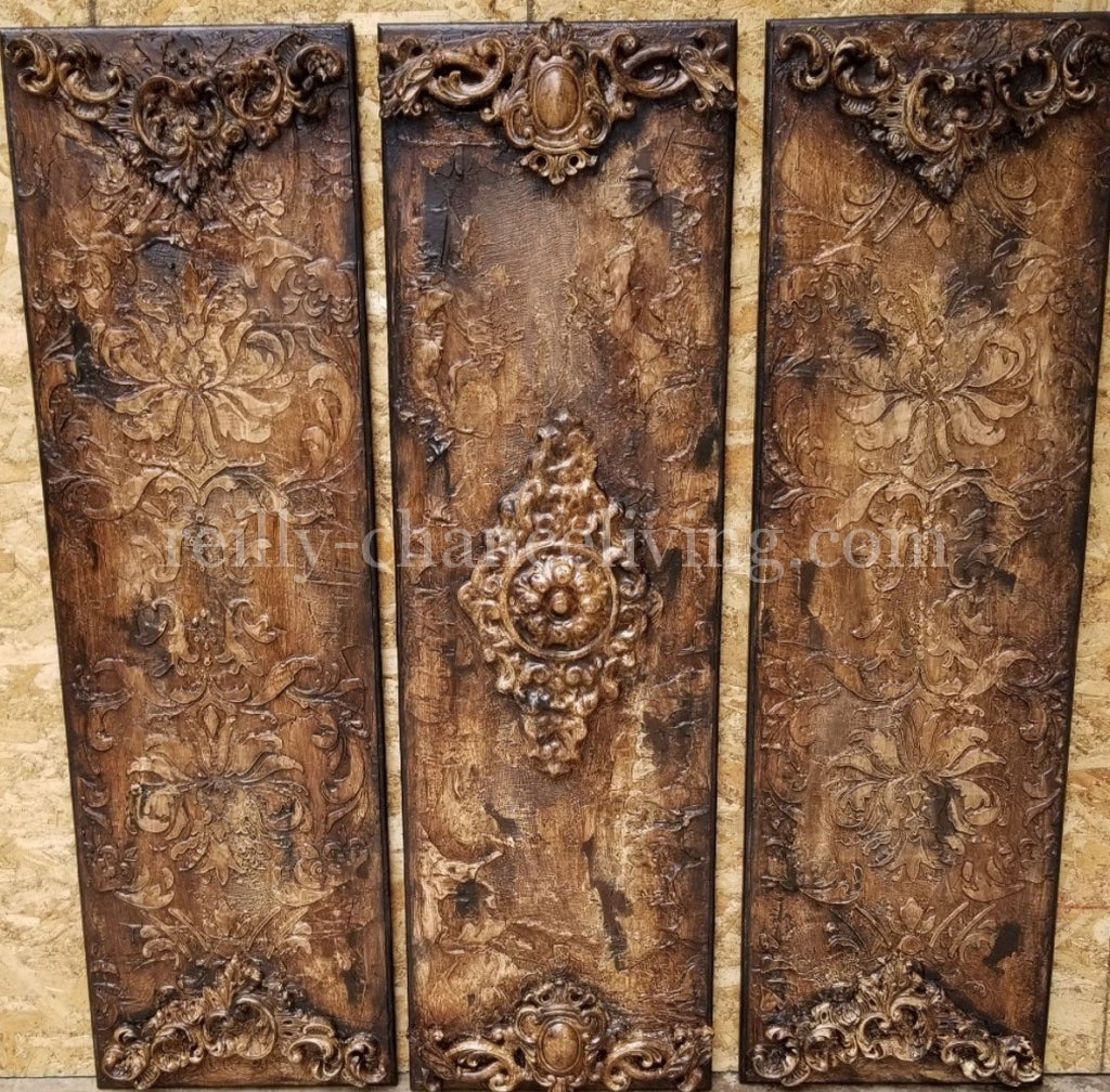 Michelle_Butler_wall_plaques-Michelle_Butler_Designs_set_of_three_wall_art-old_world_decor_for_walls-reilly_chance