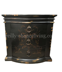 Peruvian Hand Crafted Milan Nightstand Vintage Black Gold FREE SHIPPING