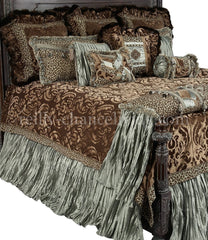 Old_World_bedding-chocolate_brown-spa_green-Aristocat-reilly_chance_collection