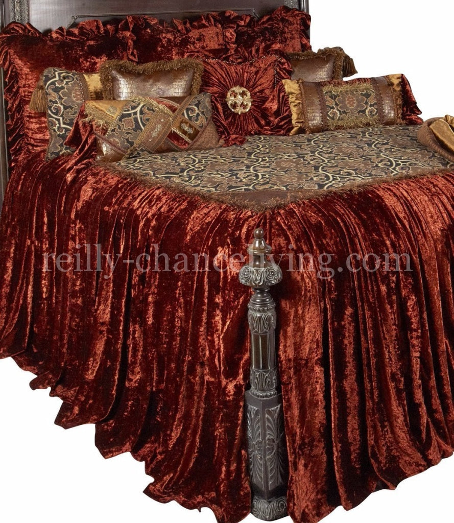 Old_World_bedding-Designer_bedding-over_sized_bed_sets-rust_velvet-decorative_pillows-Carson-reilly_chance_collection