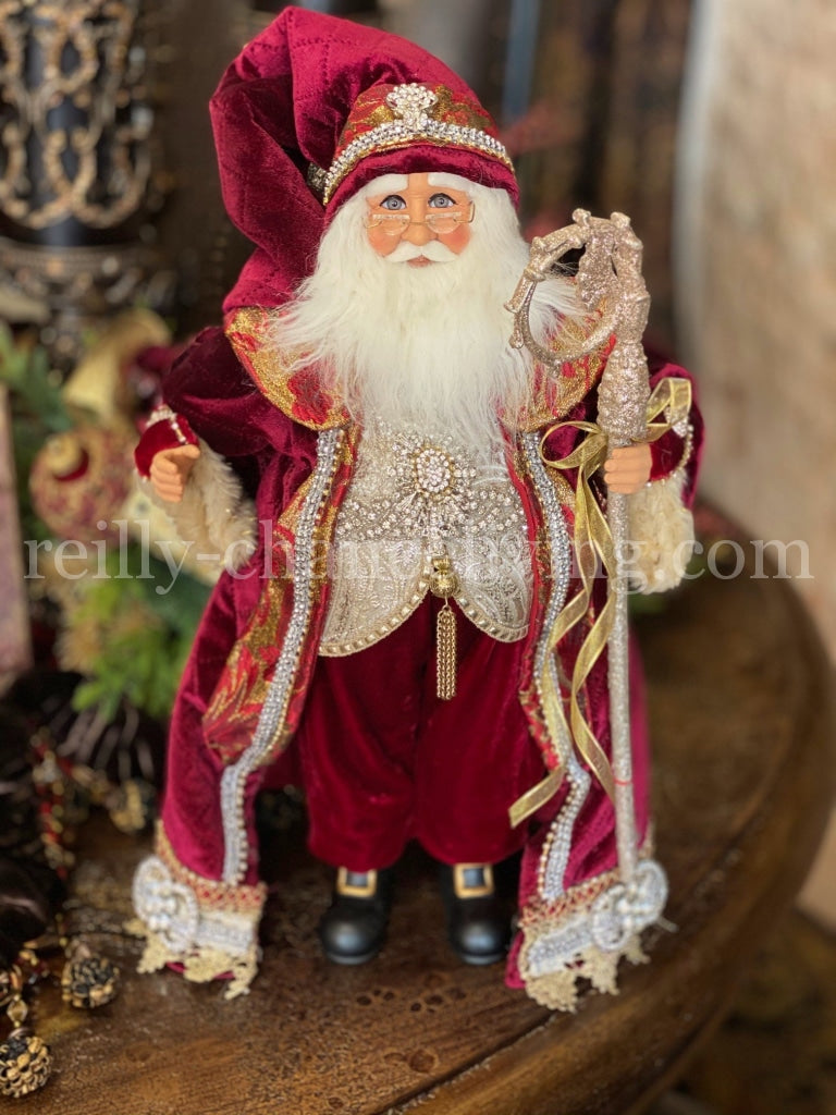 Burgundy Red Jeweled Santa with Staff