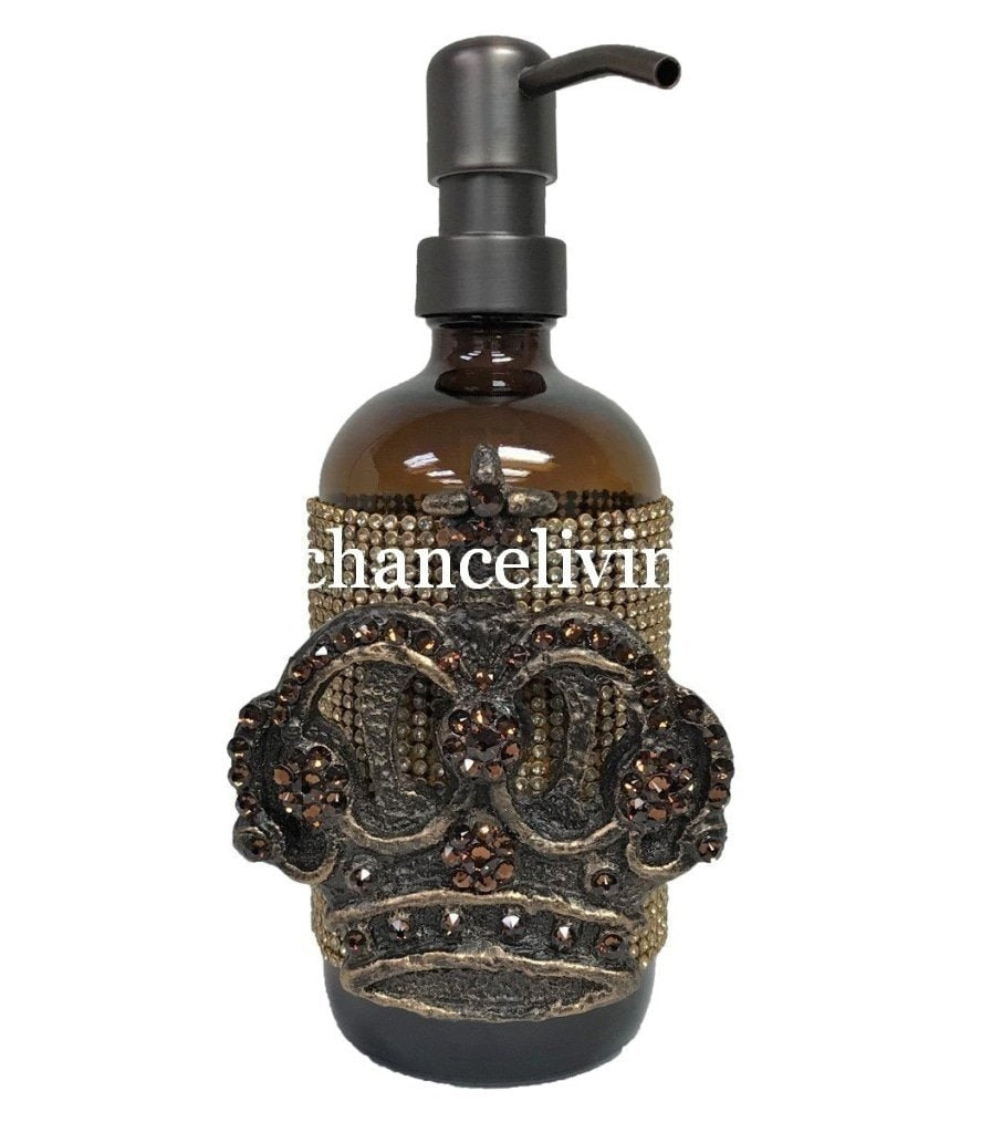 Old_world_bathroom_accessories-decorative_soap_pump-decorative_lotion_dispenser-swarovski_crystals-jeweled_decorative_bathroom_vanity_soap_pump_with_crown-old_world_home_decor-sir_oliver_s-reilly_chance
