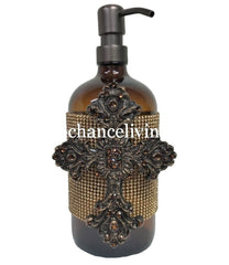 Old World Soap Dispenser With Jeweled Cross Bathroom Vanity Accessories