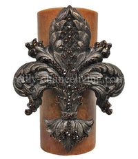Decorative Candle 4x9 Large Jeweled Fleur de lis