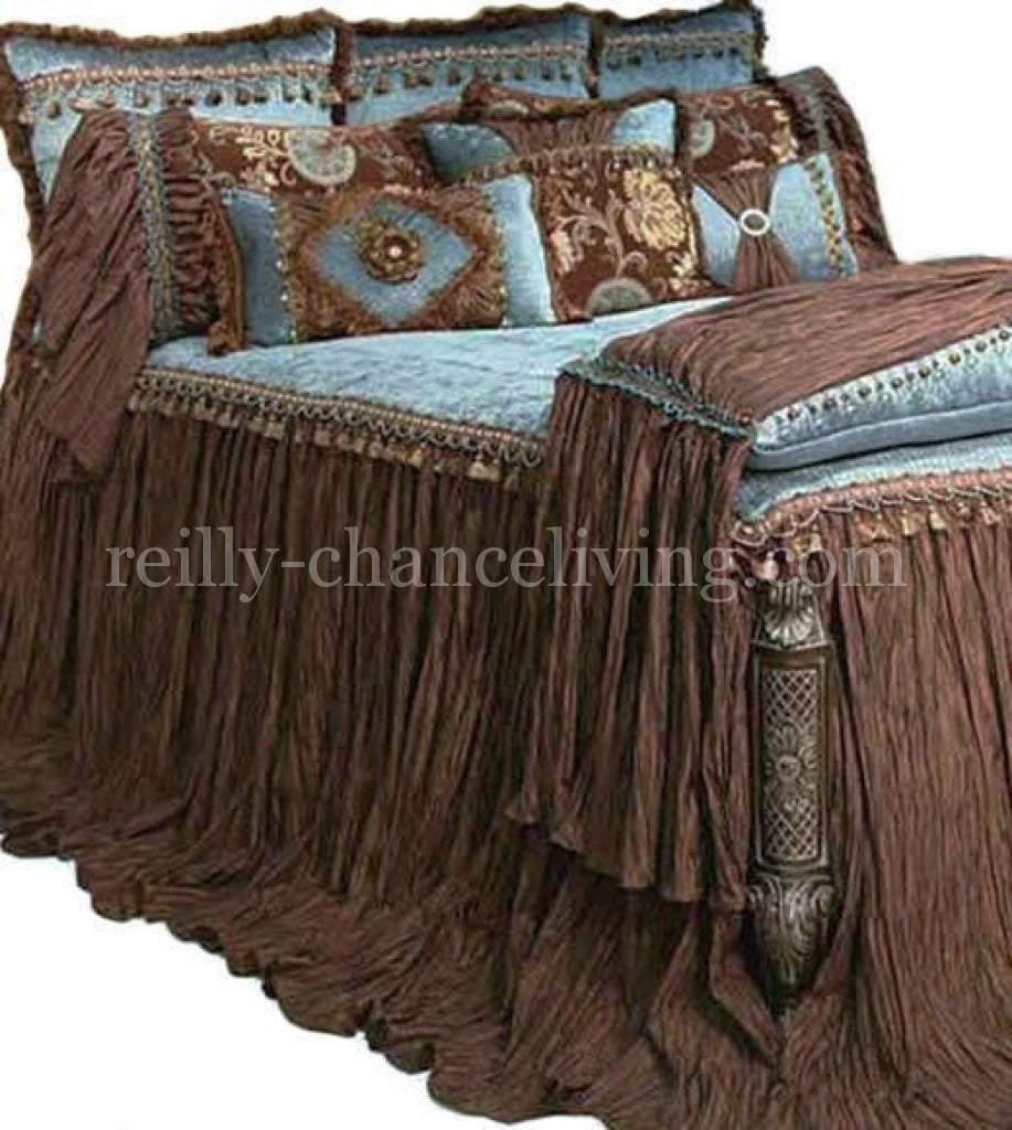 Designer_bedding-over_sized_bedding-Old_world_bedding-turquoise-brown-Mystique-reilly_chance_collection