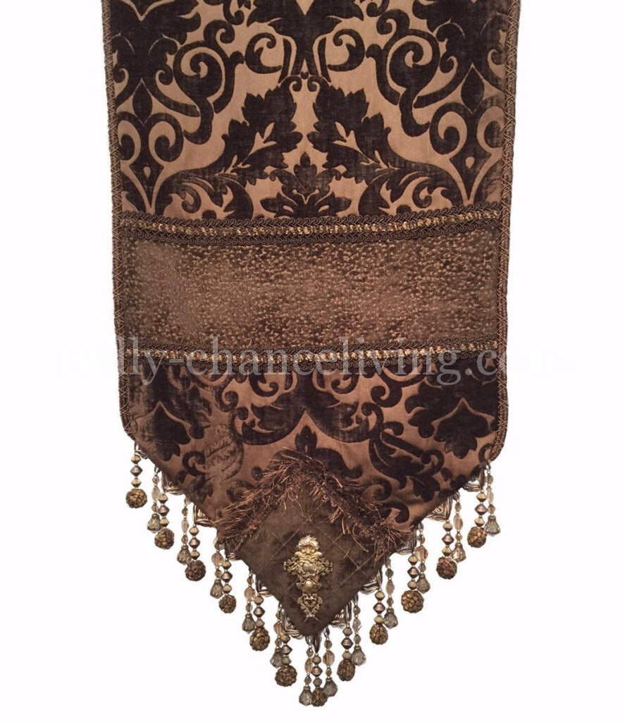 Charmant Chocolate Chenille Damask Table Runner.  Old_world_table_runner Chocolate_brown_chenille Beads Swavorski_crystals Embellished Reilly_chance_collection