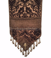 Chocolate Chenille Damask Table Runner
