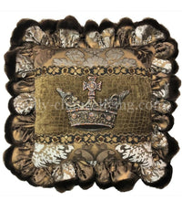 Decorative Pillow with Large Jeweled Crown